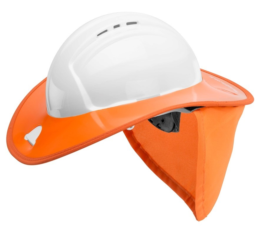 12 x SNAP BRIM Rigid Hard Hat Sunshades with Cotton Drill Neck Flap, Orange