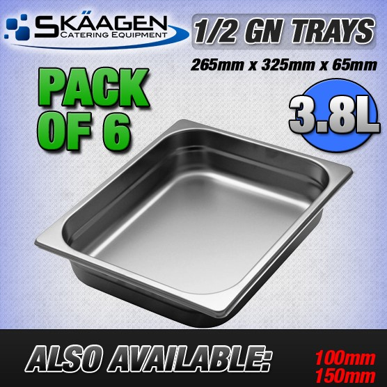 Unused 1/2 Gastronorm Trays 65mm - 6 Pack