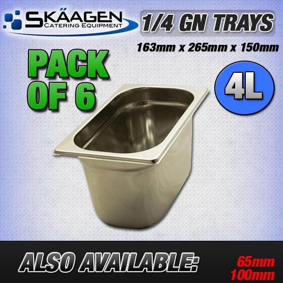 Unused 1/4 Gastronorm Trays 150mm - 6 Pack