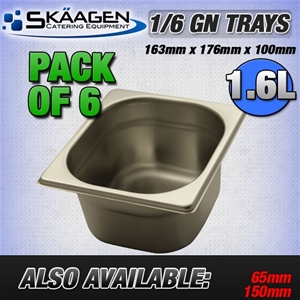 Unused 1/6 Gastronorm Trays 100mm - 6 Pa