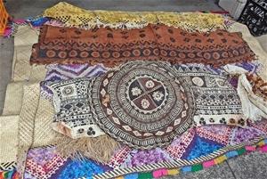 Qty South Pacific Tapa Cloth & Grass Mat