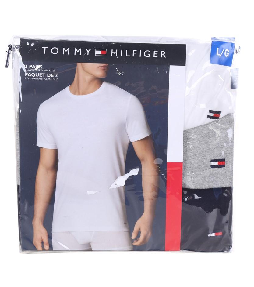 TOMMY HILFIGER Men`s 3pk Classic Crew Neck T-Shirts, Size L, 100% Cotton, W