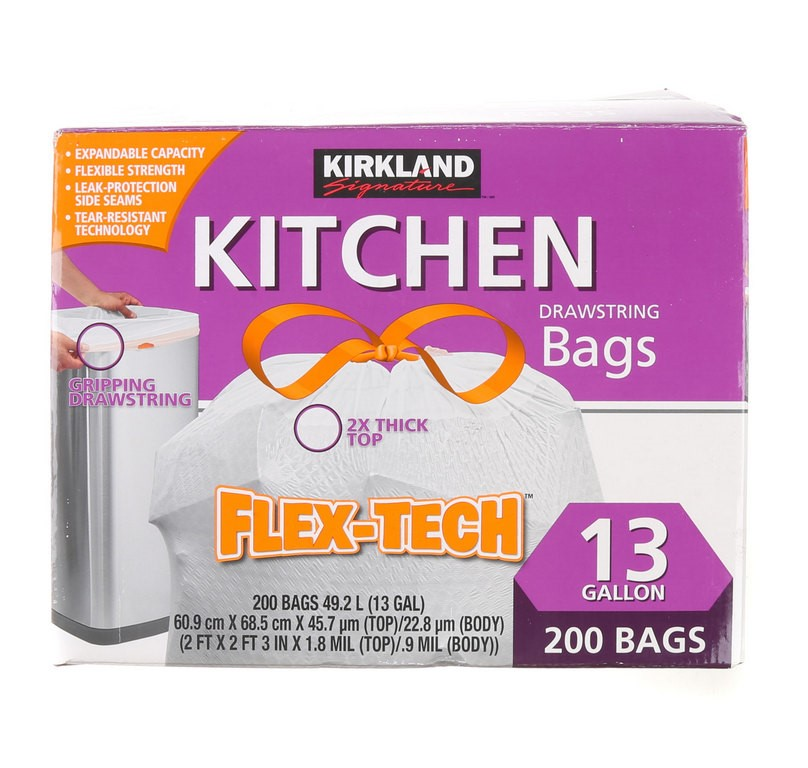 SIGNATURE Kitchen Drawstring Bag Flex-Tech, No-Leak, 13 Gallon, 200 Bags. N