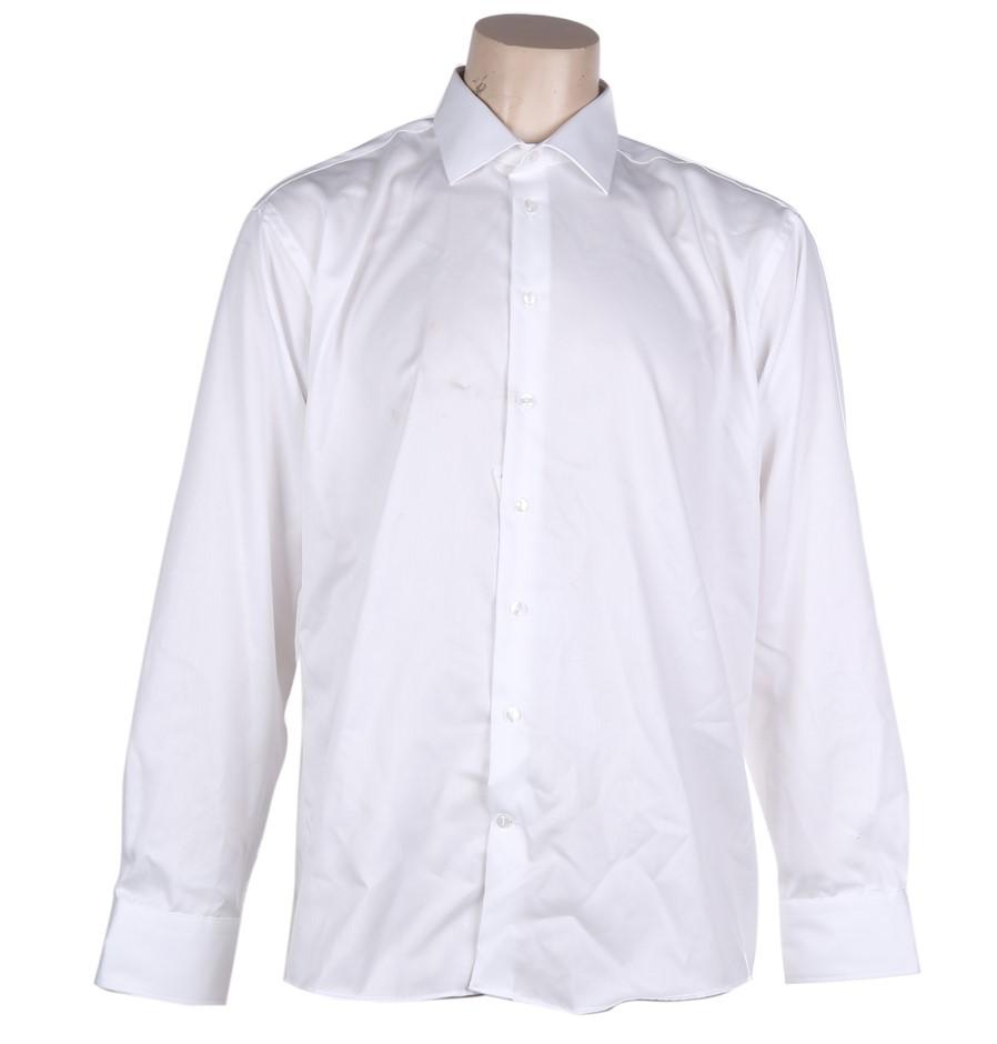 CALVIN KLEIN JEANS Men`s Cotton Dress Shirt, Size 40, White. Buyers Note -