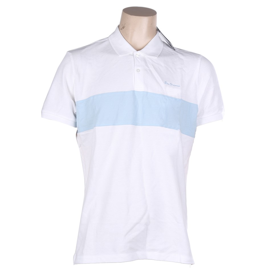 BEN SHERMAN Men`s Cotton Polo Shirt, Size S, White w/ Light Blue. Buyers No