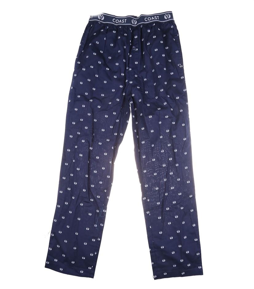 2 x COAST CLOTHING & CO Men`s Sleep Pants, Size S, 100% Cotton, Navy/White.