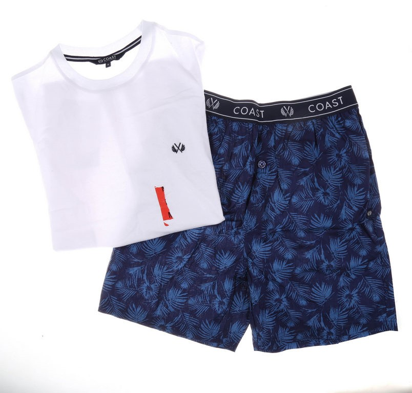 COAST CLOTHING CO Men`s 2pc Pyjama Set, Size S, 100% Cotton, White/Navy. Bu