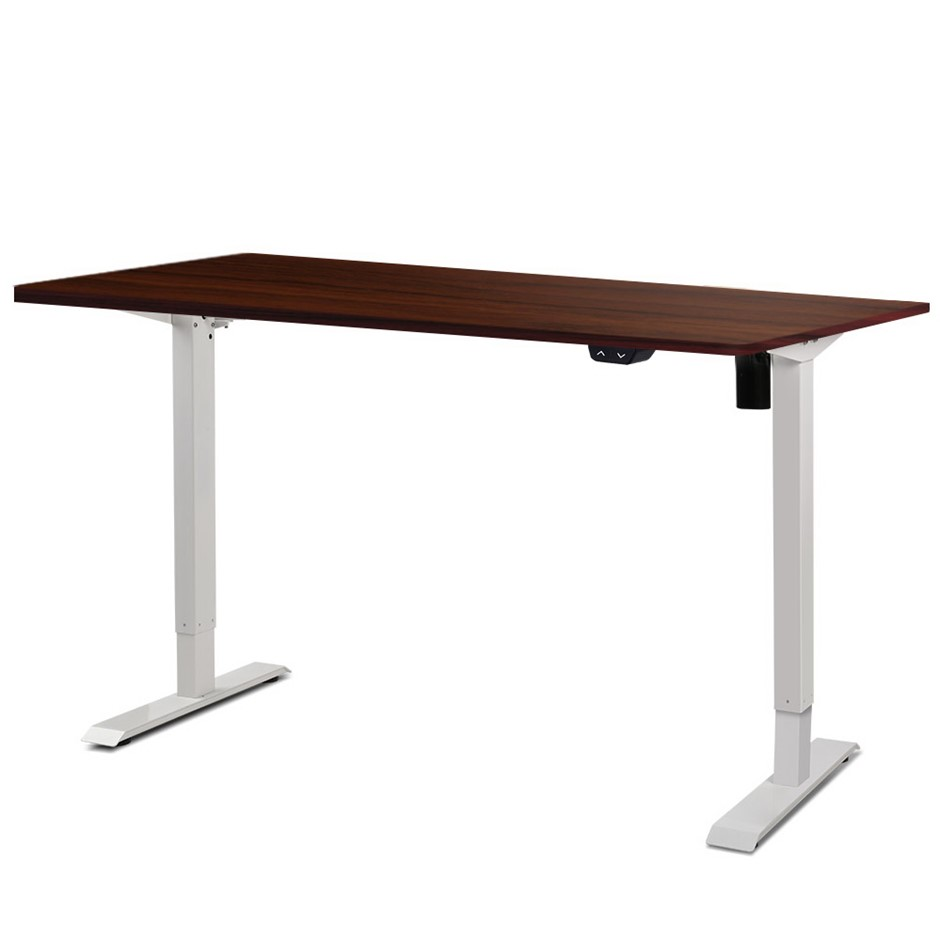 Artiss Motorised Electric Height Adjustable Standing Desk White Walnut