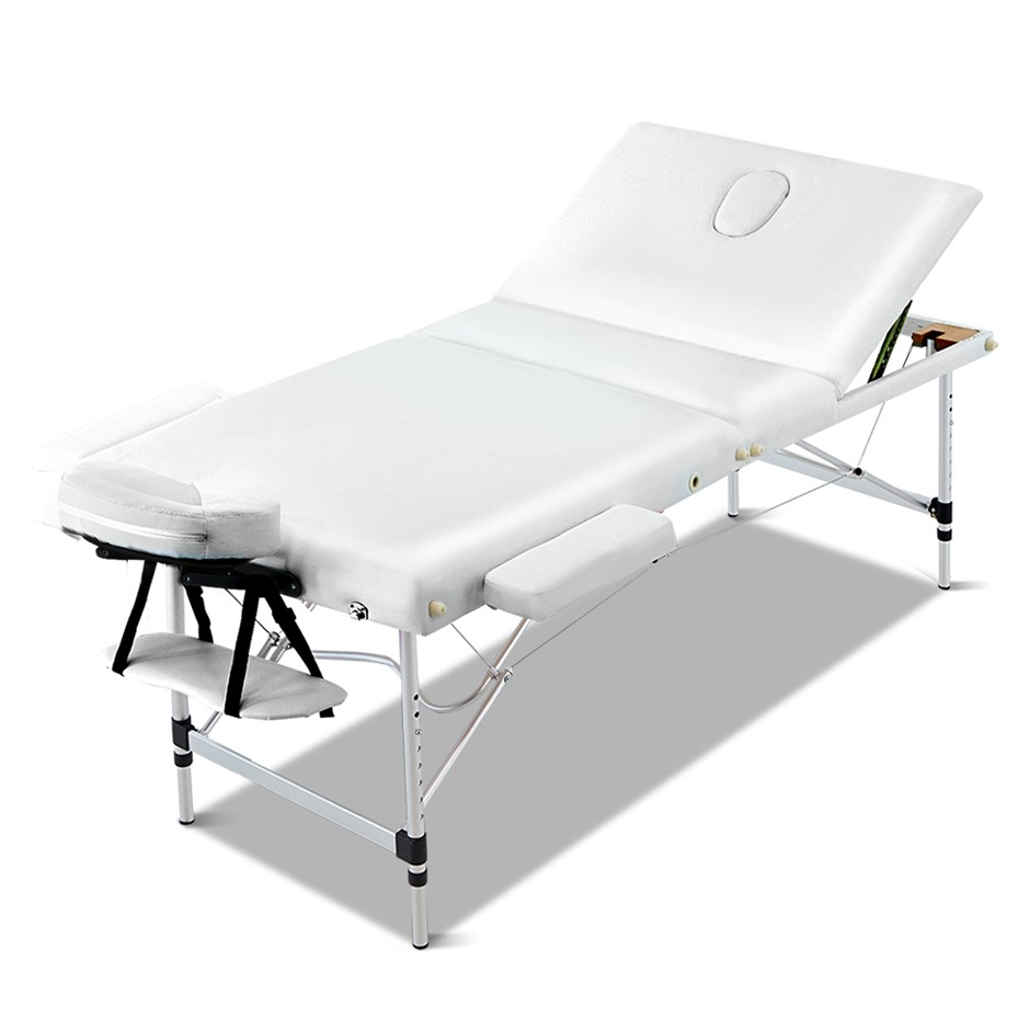 Zenses Massage Table 80CM Portable 3 Fold Aluminium Therapy Beauty Bed