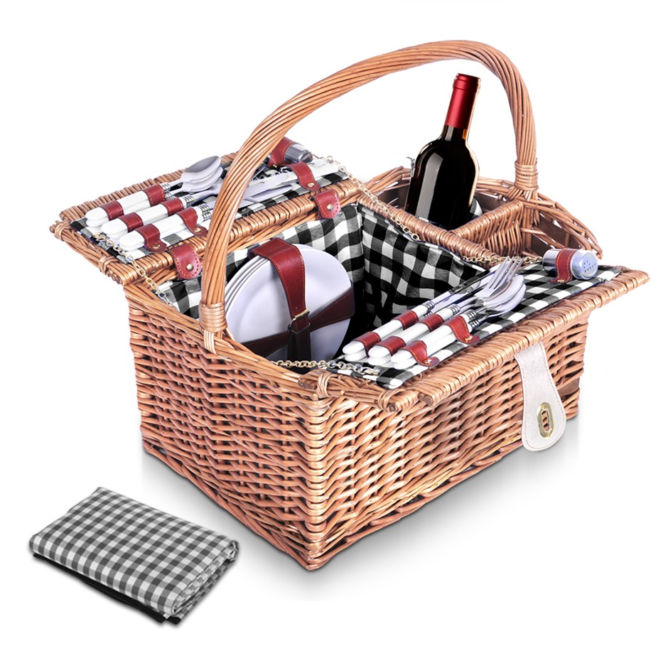 Alfresco Deluxe 4 Person Picnic Basket Outdoor Corporate Blanket Park Date