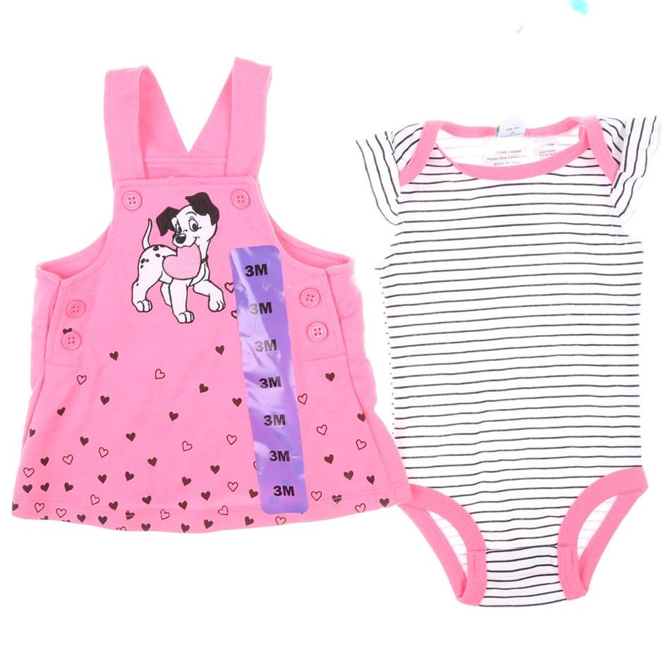 DISNEY Baby 2pc Dalmatian Clothing Set, Size 3M, 100% Cotton, Pink/Black/Wh