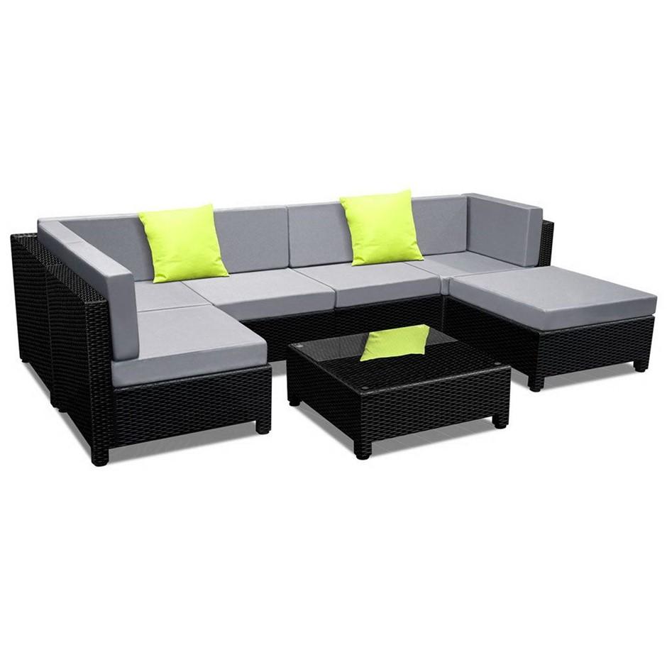 Gardeon 7 Piece PE Wicker Outdoor Furniture Set - Black