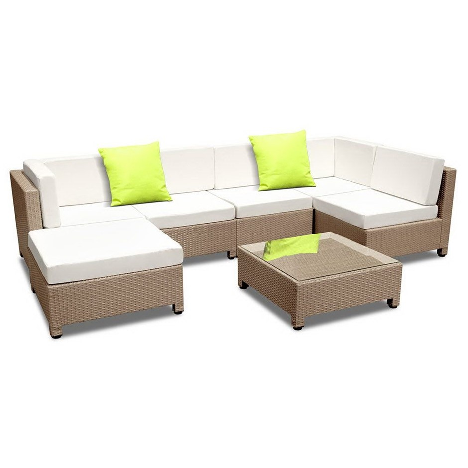 Gardeon 7 Piece PE Wicker Outdoor Furniture Set - Brown