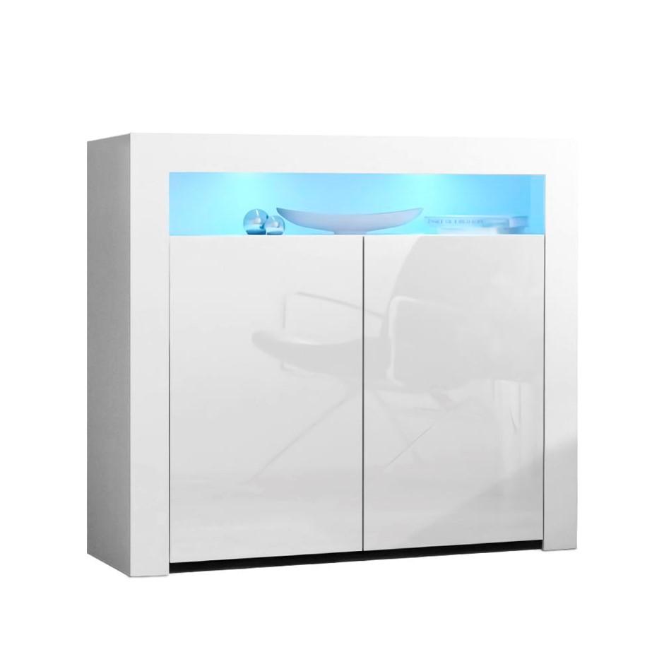 Artiss Buffet Sideboard Cabinet LED High Gloss Storage 2 Doors White