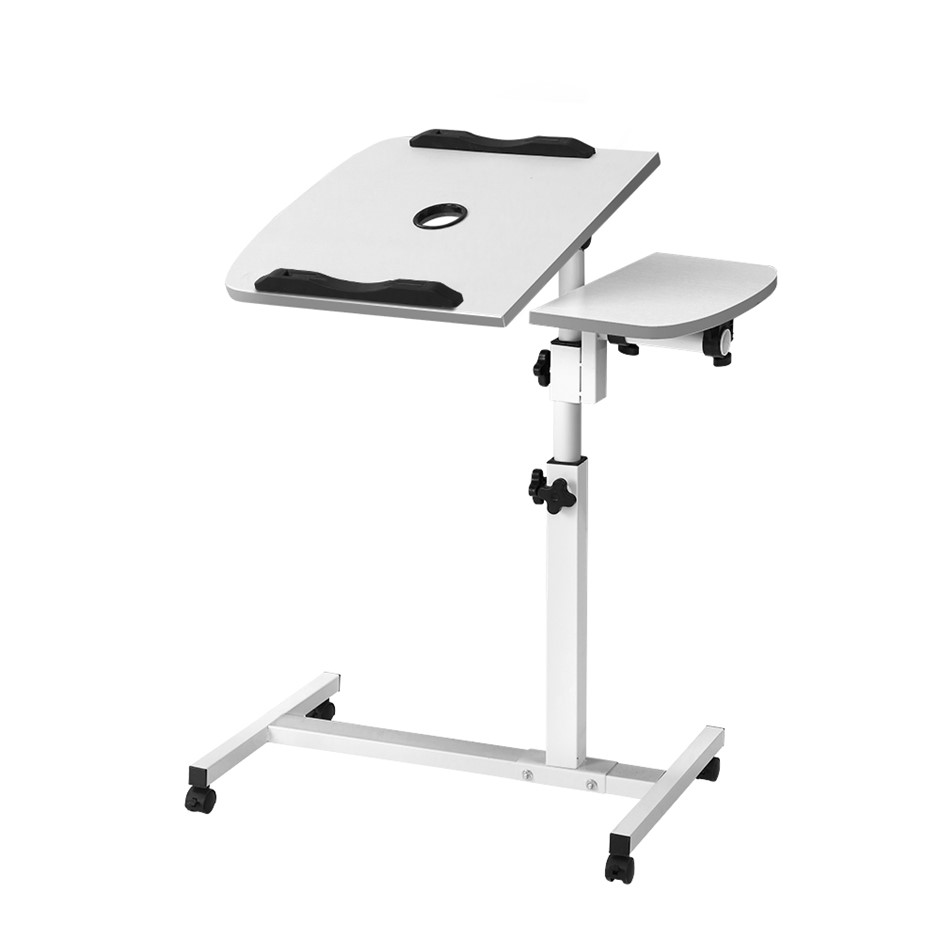 Rotating Mobile Laptop Adjustable Desk with USB Cooler White