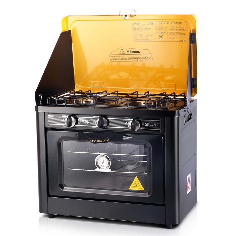 Devanti 3 Burner Portable Oven - Black & Yellow