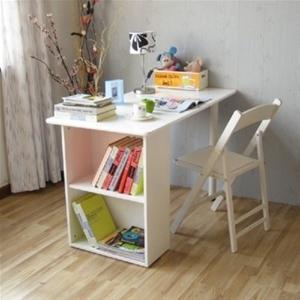 White Study Desk Workstation Bookcase Shelving Unit Set