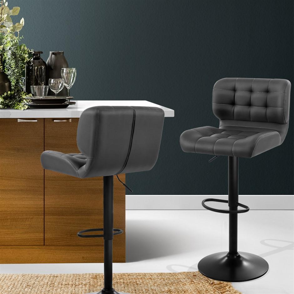 Artiss 2x Kitchen Bar Stools Gas Lift Chairs Swivel Leather Black Grey