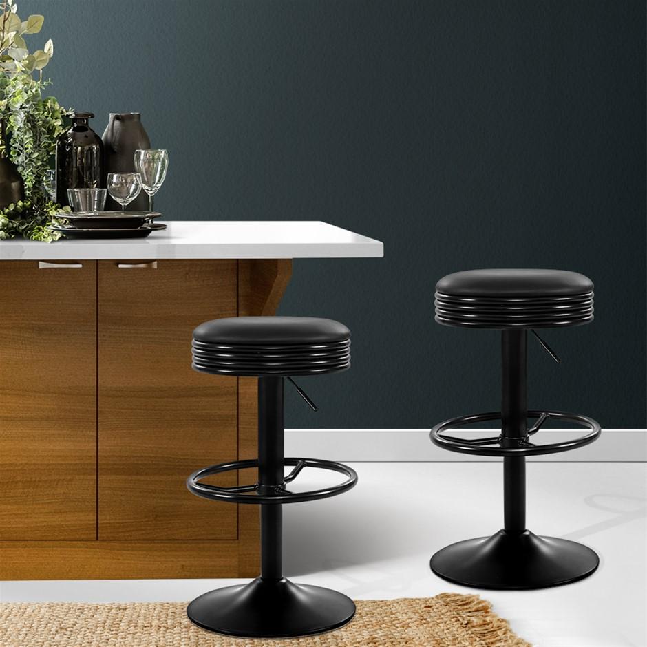 Artiss 2x Kitchen Bar Stools Gas Lift Chairs Swivel Barstools Black