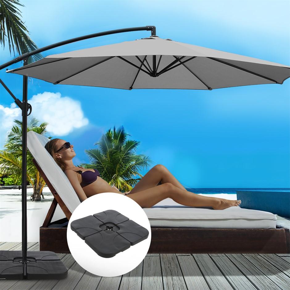 Instahut 3M Umbrella w/50x50cm Base Cantilever Sun Stand UV Garden Grey