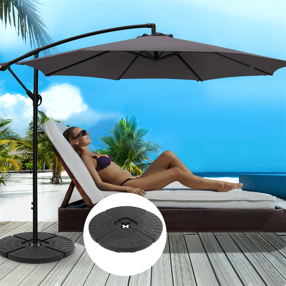 Instahut 3M Umbrella w/48x48cm Base Cantilever Sun Beach Garden Charcoal