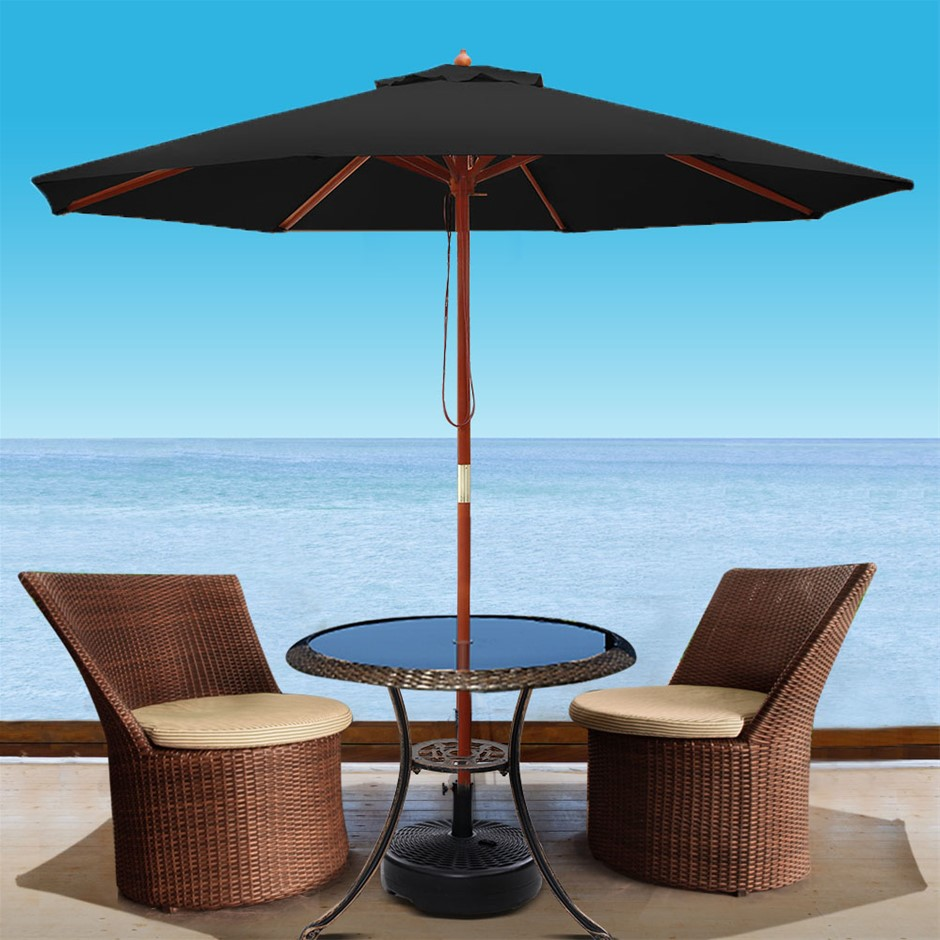 Instahut 2.7M Umbrella w/Base Outdoor Umbrellas Garden Stand Deck Black