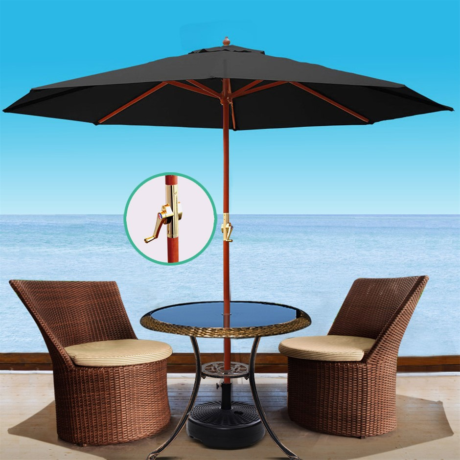 Instahut 3M Umbrella w/Base Outdoor Pole Umbrellas Garden Stand Deck Black