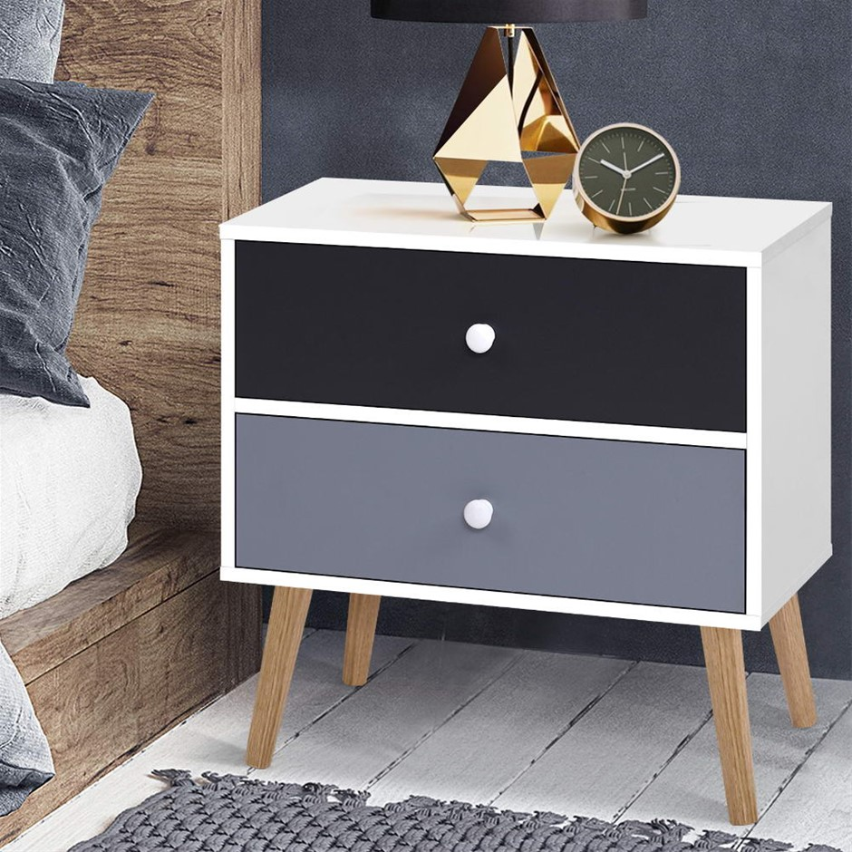 Artiss Bedside Tables Drawers Side Table Nightstand Lamp Storage Cabinet