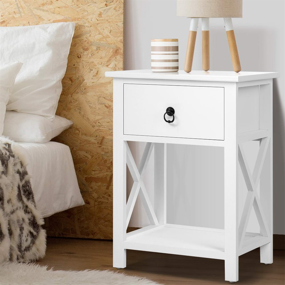 Artiss Bedside Tables Drawers Side Table Nightstand Lamp Chest Cabinet x2