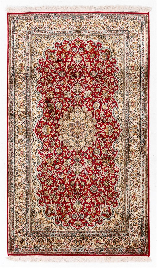Kasmiri Hand Knotted Pure SILK PILE Hand Knotted floor rug SIZE(cm): 89x154