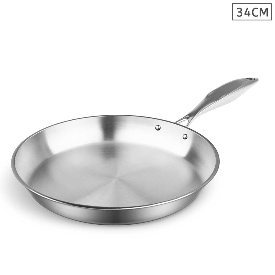 SOGA Stainless Steel Fry Pan 34cm Top Grade Induction Cooking Frypan