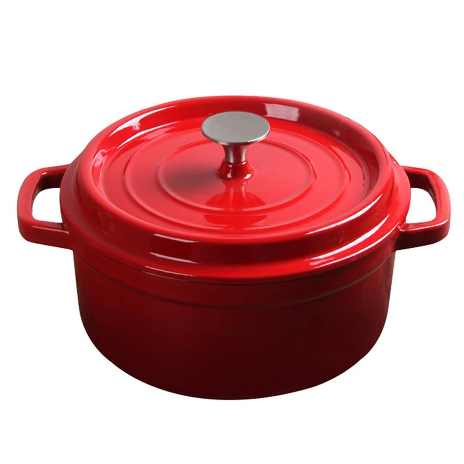 SOGA Cast Iron Enamel 24cm Porcelain Stew pot Casserole Stew & Lid 3.6L Red