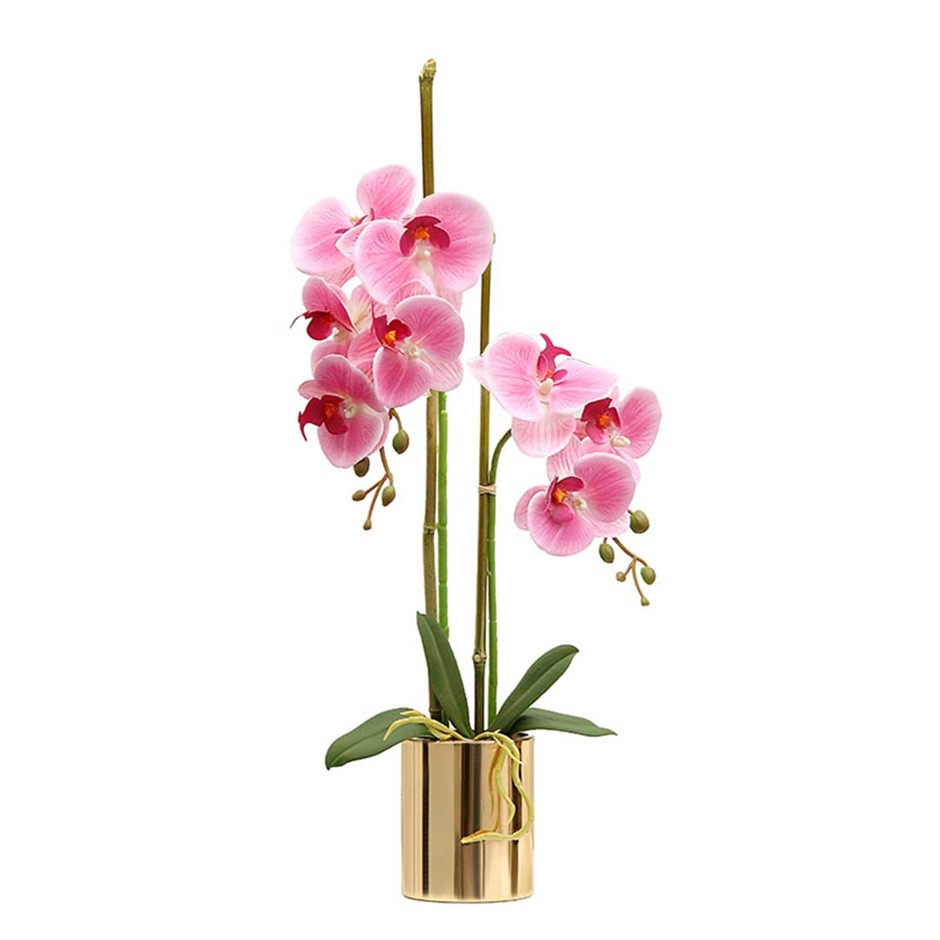 SOGA Pink Artificial Fake Orchid Flower in Gold Metal Vase Set