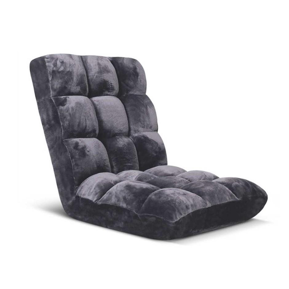 SOGA Floor Recliner Folding Lounge Sofa Futon Chair Cushion Grey
