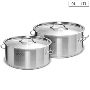 SOGA Stock Pot 9L 17L Top Grade Thick St
