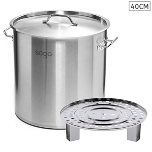 SOGA 40cm Stainless Steel Stock Pot with