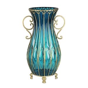 SOGA 50cm Blue Glass Oval Floor Vase wit