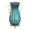 SOGA 50cm Blue Glass Oval Floor Vase with Metal Flower Stand