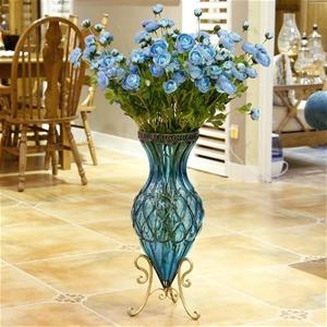 Buy Soga 65cm Blue Glass Tall Floor Vase With Metal Flower Stand Graysonline Australia