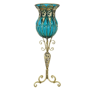 SOGA 85cm Blue Glass Floor Vase with Tal