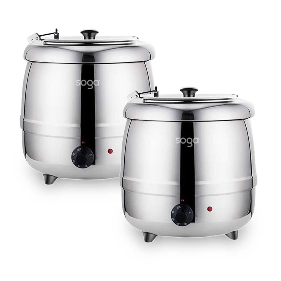 SOGA 2X 10L Soup Kettle Commercial Electric Soup Maker Stainless Steel