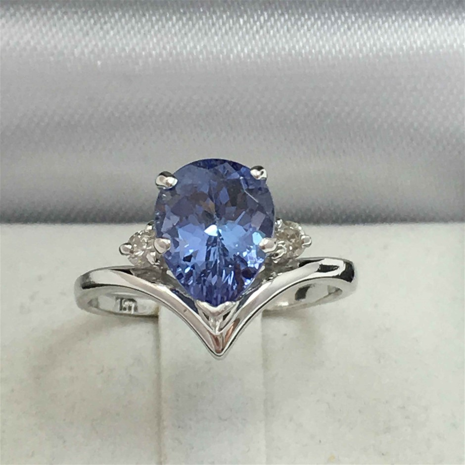 18ct White Gold, 2.34ct Tanzanite and Diamond Ring