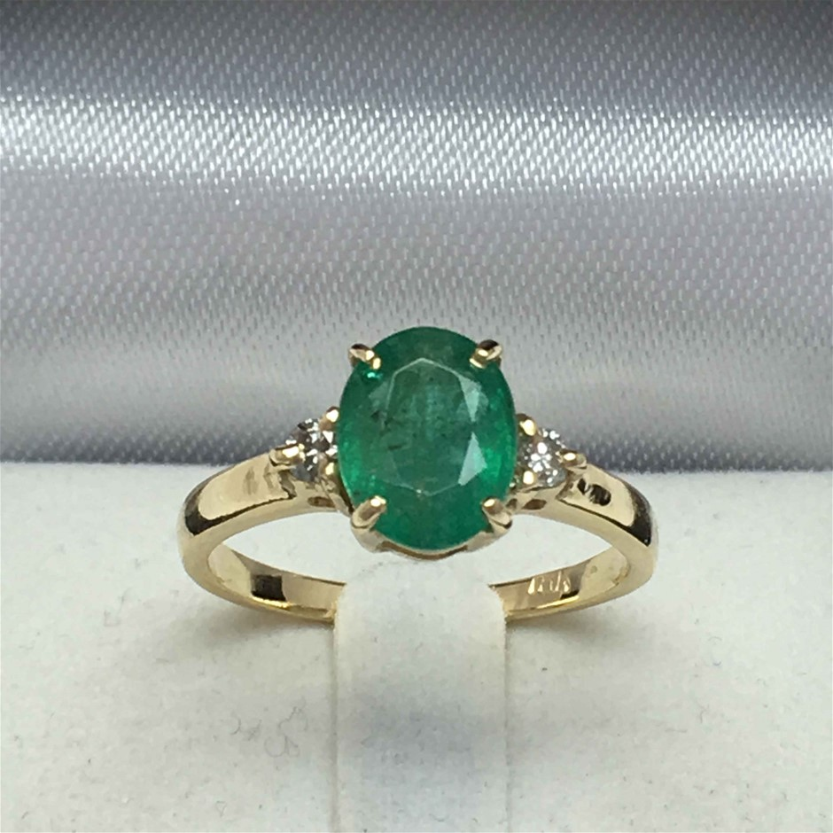 18ct Yellow Gold, 1.76ct Emerald and Diamond Ring