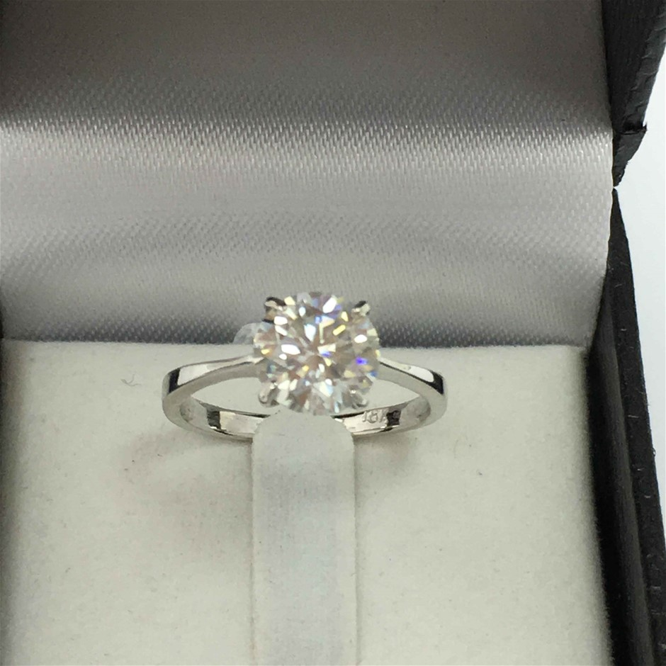 18ct White Gold, 2.57ct Moissanite Ring