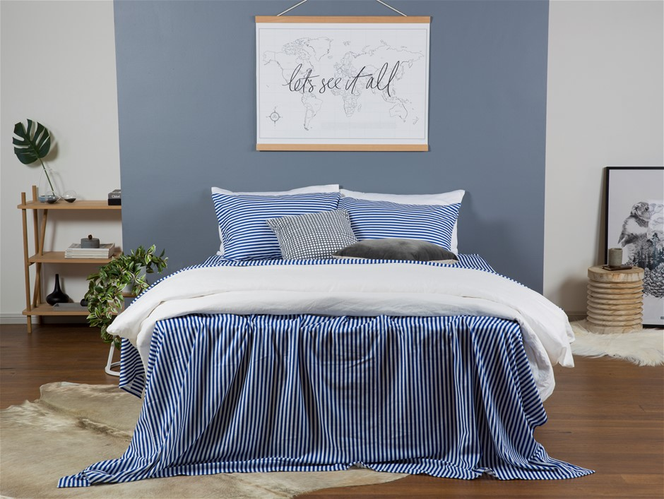 Flannelette Sheet Set Queen Indigo Stripe