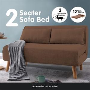 Sarantino Sofa Bed Lounge Faux Linen Fab