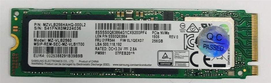 Samsung PCIe NVMe M.2 2280 256GB Solid State Drive P/N: MZVLB256HAHQ-000L2