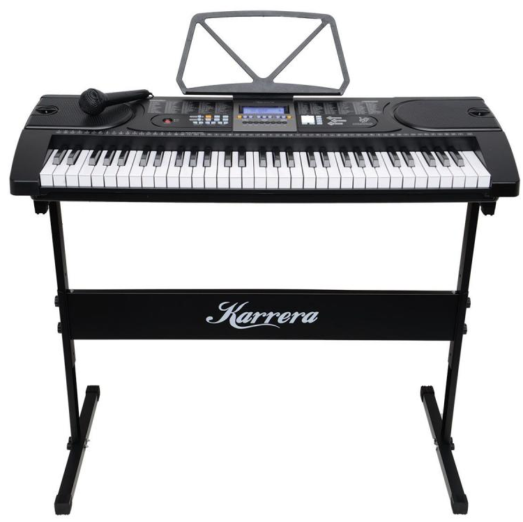 61 Keys Electronic Keyboard with Stand - Black