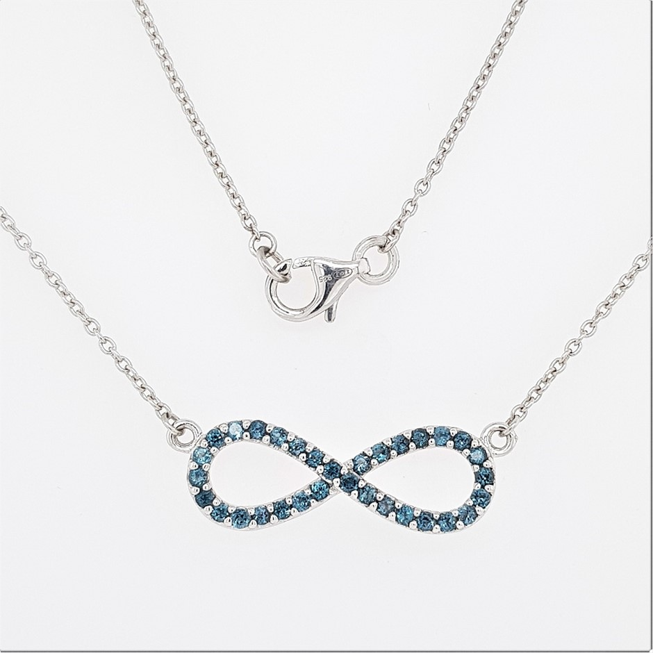 Sterling Silver Zirconia infinity necklace Auction (0038