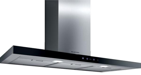 Kleenmaid 90cm Stainless Steel/Black Krystal Glass Wall Mounted Rangehood